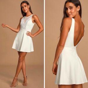 NWT Lulu's I Promise White Lace Skater Dress XS